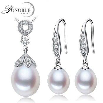 Природный жемчуг ювелирные изделия свадебный комплект ювелирных изделий для женщин, перл set 925 серебряный кулон серьги joyas conjuntos де perlas