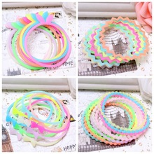 10 Pcs/Lot New Fashion Glow In The Dark Luminous Silicone Bracelet Elastic Rubber Band Hair Rope Headdress(China)