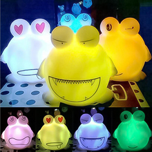 1 Pc Creative Colorful Electric Magic Plastic Cute Cartoon Frog Model LED Light Light-Up Novelty Toys Funny Games Birthday Gifts(China)