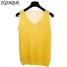 Summer New Design Women's Fashion V-neck Knitted Tank Tops 12 Colors Quality Cheap Vest Casual Girls All-match Linen Tops SY1105(China)