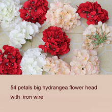 30pcs big artificial hydrangea silk flower head 54 petals wedding home party celebration DIY flower wall accessories
