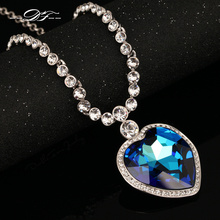 Top Quality Love Hearts Big Blue/Yellow Crystal 18KRGP Necklaces & pendants Crystal Jewelry For Women colares DFN586M(China)