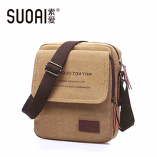 SUOAI Mens Canvas Shoulder Bag 2015 Fashion Vintage Messenger Bags Casual Mens Bag