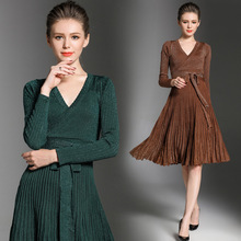 2017 New Arrival Autumn Women Classic Slim Three Quarter dress Office Lady Vintage Casual A Line Knited Dresses Vestidos 52236(China)