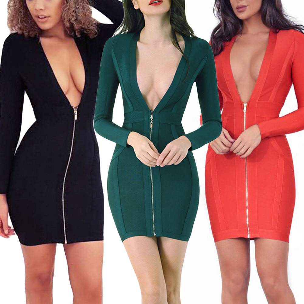 BEAUKEY 2018 Red Color Long Sleeve Bandage Dress Deep V Neck Mini Sexy Bodycon Dress Plus Size XL