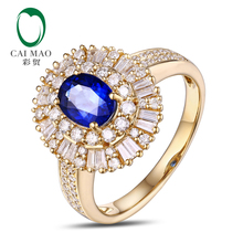 Free shipping Natural Pave Set Diamond 5x7mm Oval Cut 1.02ct Sapphire Engagement 18K Yellow Gold Hot Sale Ring(China)