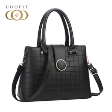 Coofit Womens Square Plaid Top-Handle Bag Stylish PU Leather Ladies Shoulder Bags Car Suture Classic Messenger Bags Female Sac(China)