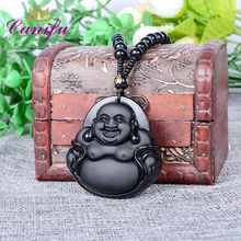 Canifu Natural Black Obsidian Carving Unique MiLe Happy Buddha amulet Chain Pendant Women Luxury Necklace Pendants(China)
