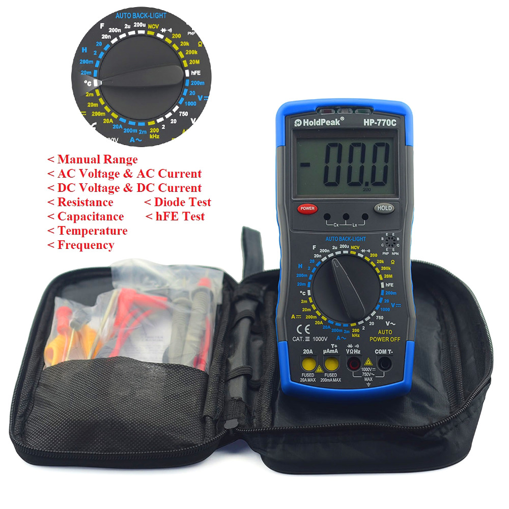 Inductance Meter HoldPeak HP-770C Digital Multimeter with Inductance/Frequency Test<br>