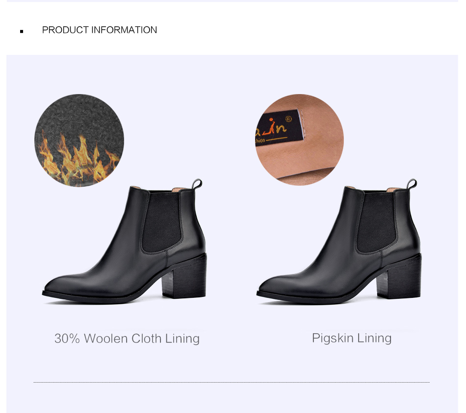 Donna-in 2017 new style genuine leather ankle boots pointed toe thick heel chelsea boots calf leather women boots ladies shoes 96350-17 (8)