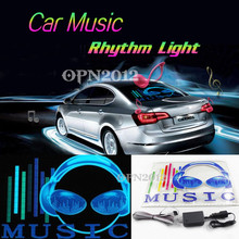 45x30cm Car Sticker LED EL Sound Activated Equalizer Glow Flash Panel Multi Colour Light Music Rhythm LED Flash Light Lamp #2295