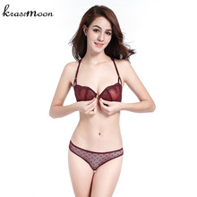 Intimates 2018 New Women Sexy Lingerie Thin Lace Y-line Straps Front Closure Bra and Panties Transparent Bra set Underwear BS10(China)