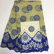 Buy Water Soluble Guipure Lace Fabric Royal Blue African Cord Lace Fabrics embroidery Nigeria Wedding Dress Lace for $37.31 in AliExpress store