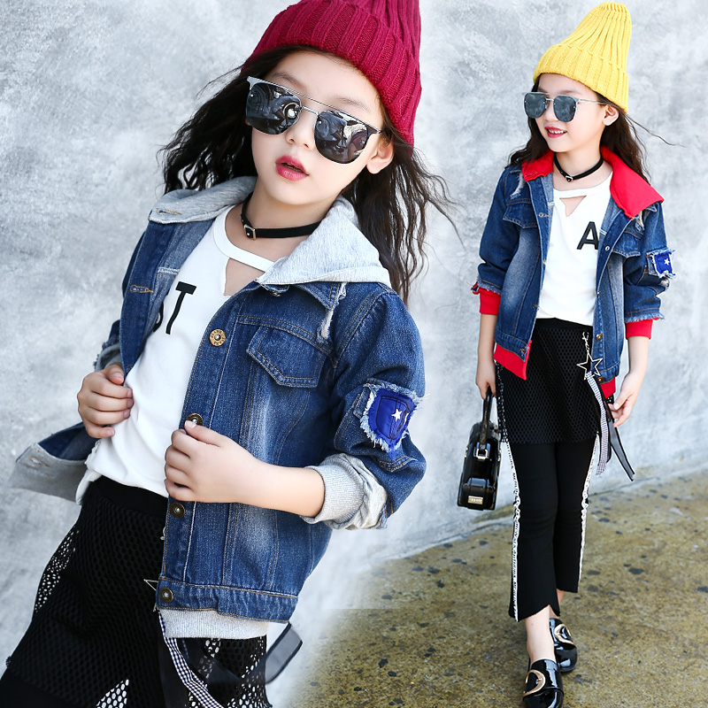 Girls Jackets Denim Coats 2017 New Fashion Jackets For Teenage Girls Back to School Clothes Kids Hooded Denim Jackets Outerwear<br>