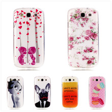 2016 Thin Slim Soft gel TPU Pink Flower Painted Phone Cases Back Cover For Samsung GALAXY S3 GT-i9300 9300 S3 NEO S3 Duos Case
