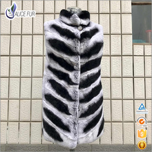 Made in china OEM Service high quality women hooded Rex Rabbit Chinchilla color fur vest for sale