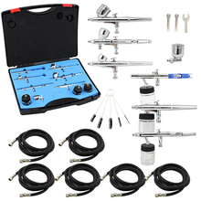 OPHIR 6PCS Airbrush Kit Set Dual Action Air Brush Spray Gun/Air-brush for Nail Art Body Paint Model Hobby Cake Decorating_AC048+(China)
