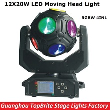 High Quality 1Pc 12*20W RGBW 4IN1 Football LED Moving Head Light 226W LED Football Moving Head Beam Light 100-240V Free Shipping