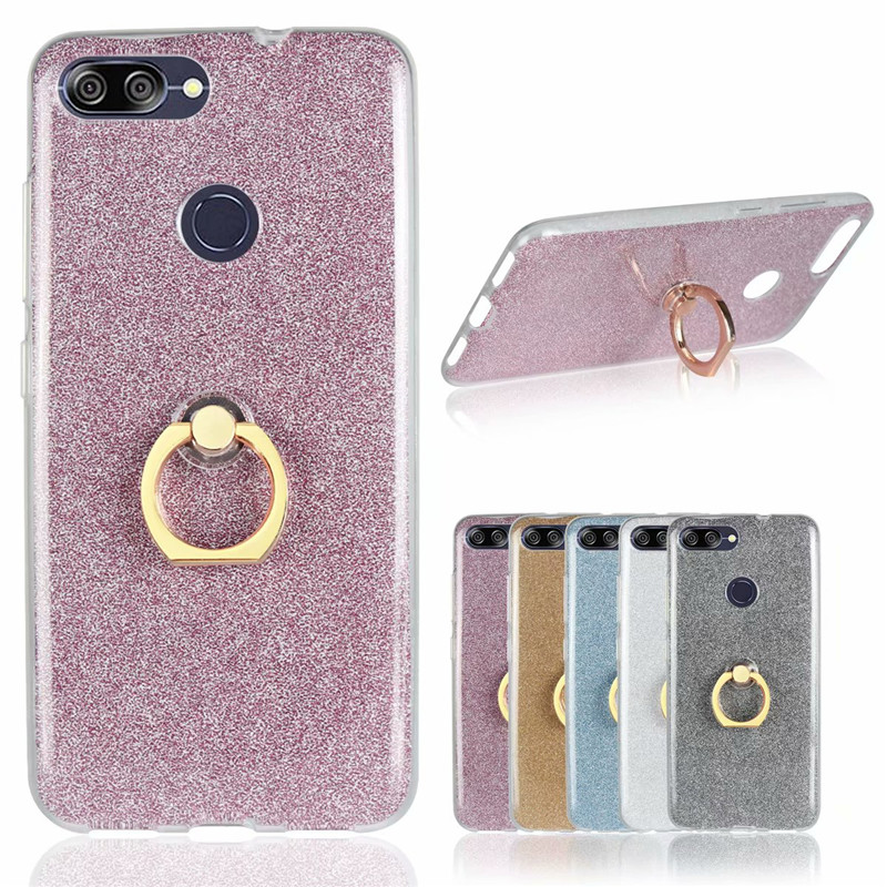 Phone Case ASUS ZenFone Max Plus M1 ZB570TL X018D Glitter Bling Case Finger Ring Holder TPU Silicone Back Cover ZB570TL