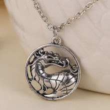 Mortal Kombat necklace dragon vintage pendant movie jewelry for men and women wholesale