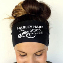 "Hair Accessories 2017 Ladies Letter Sports Yoga Sweatband Gym Stretch Headband 3 colors Hair Band ""Harley hair don`t care""(China)"