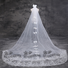 Two layer with comb in stock wedding veils for bridal veu de noiva curto flower veil with bow high quality cheap bride veils