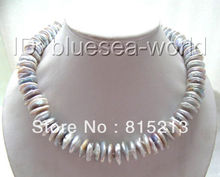 FREE SHIPPING>@@> N693 huge 16mm silver gray coin natural SOUTH Reborn keshi pearls necklace