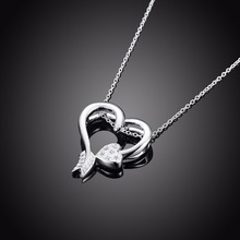2017 women girl love heart pendant silver plated round chain necklace zircon austrian crystal jewelry drop shipping 895
