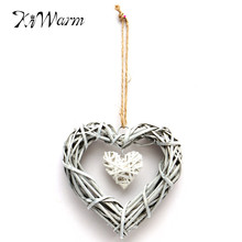 Wicker Heart Wreath Hanging Heart Rattan Sepak Takraw Wedding Christmas Party Home Garden Decoration In Grey White Color
