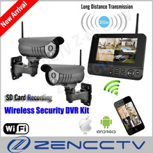 "New 7"" LCD Monitor Wireless Surveillance Camera System Kit IP Remote Via Smart Phone Alarm Home Security Cameras de seguridad(China)"