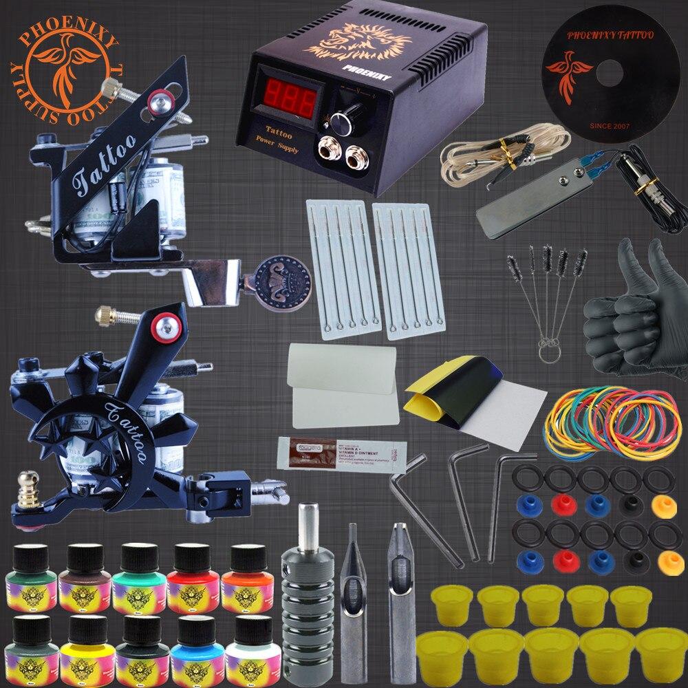 Complete Tattoo Kit Two Machine Guns Tattoo Machine Set 10 Colors Ink Set Complete Tattoo Kits LED Power<br>