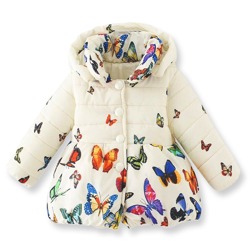 Winter kids coat childrens color butterfly pattern zipper jacket,casual girls outerwear with removable cap(1-3 yrs)Одежда и ак�е��уары<br><br><br>Aliexpress