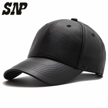 NEW SNP PU solid black Leather Women's cap adult Baseball Cap gorras casual Snapback Hat For Men women baseball caps casquette(China)