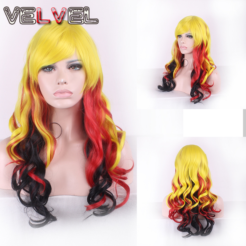 Women High Quality Heat Resistant Black Red Yellow Mixed Long Curly MultiColor Hair Wigs Fashion Lady Full Wig+Free wig cap<br><br>Aliexpress