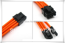 PCI-E 8PIN three braid extension power cable 18AWG with Orange sleeving --- 6P+2P(400mm)