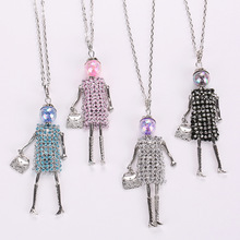 2017 crystal fashion long necklace women doll Pendant baby sweater chain lovely hot girls rhinestones statement jewelry brand