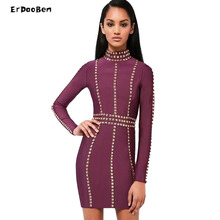 Spring Autumn Nail Beaded Sexy Women Bodycon min Length Long Sleeve Bandage Dresses Rayon Black DR807(China)