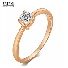 Luxury Women Jewelry Italy Zircon Gold Color Rings for Lady Women Weding Engagement  Rings New Arrival