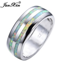 JUNXIN Fashion Women White Fire Opal Ring High Quality 925 Sterling Silver Filled Jewelry Promise Engagement Rings For Women(China)