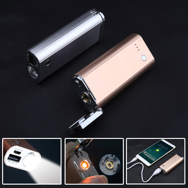 2pcs 3 in 1 built in 6800mA battery rechargeable flashlight Multi-function flashlight+ cigarette lighter+power bank flashlight<br>