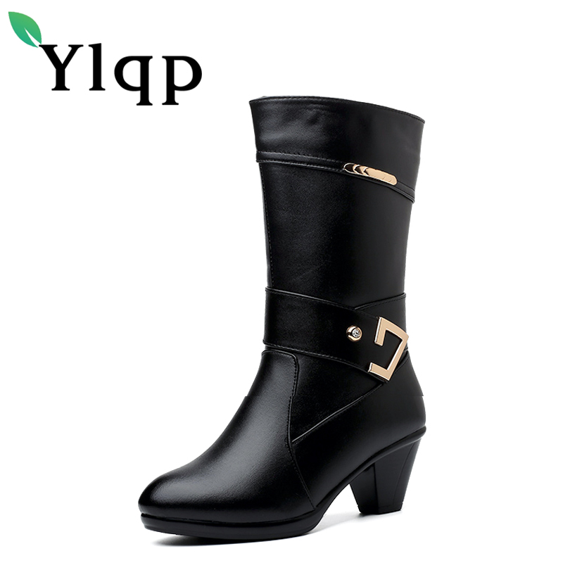 Ylqp High Quality PU + Genuine Leather Boots Women Thin Heels Winter Low Heels Ankle Boots Fur Snow Boots Shoes Woman Sapato<br>