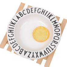 Minimalism Baby Dishes Black White Alphabet Adult Children's Tableware Fruit Dessert Plate Educational Dinnerware For Boy Girl(China)