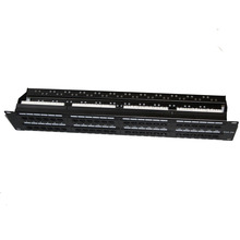 48 Ports UTP Cat 5e Unshield Network Patch Panel 1U Height with 2 Rear Cable Management Fluke Passed Rack Mounted(China)