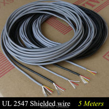 5 Meters High Quality UL 2547 28/26/24 AWG Multi-core Control Cable Copper Wire Shielded Audio Cable Headphone Cable Signal Line(China)