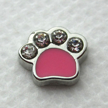 New arrive 20pcs/lot pink crystal dog paw floating charms living glass floating memory lockets wholesale(China)