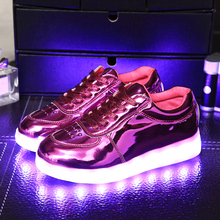 2016 new Led Light Luminous kids Shoes  Boys Girls black golden Sports Shoes With Light children Usb Charger Lamp Warm Shoes