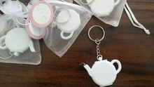FREE SHIPPING+Cheap Wedding Favors Love is Brewing Teapot Measuring Tape Keychain Portable Mini Key Chain Favor+100pcs/lot