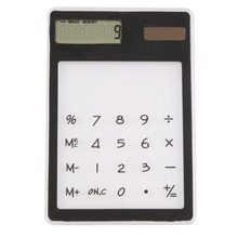 Ultra Slim Solar Touch Screen LCD 8 Digit Electronic Transparent Calculator