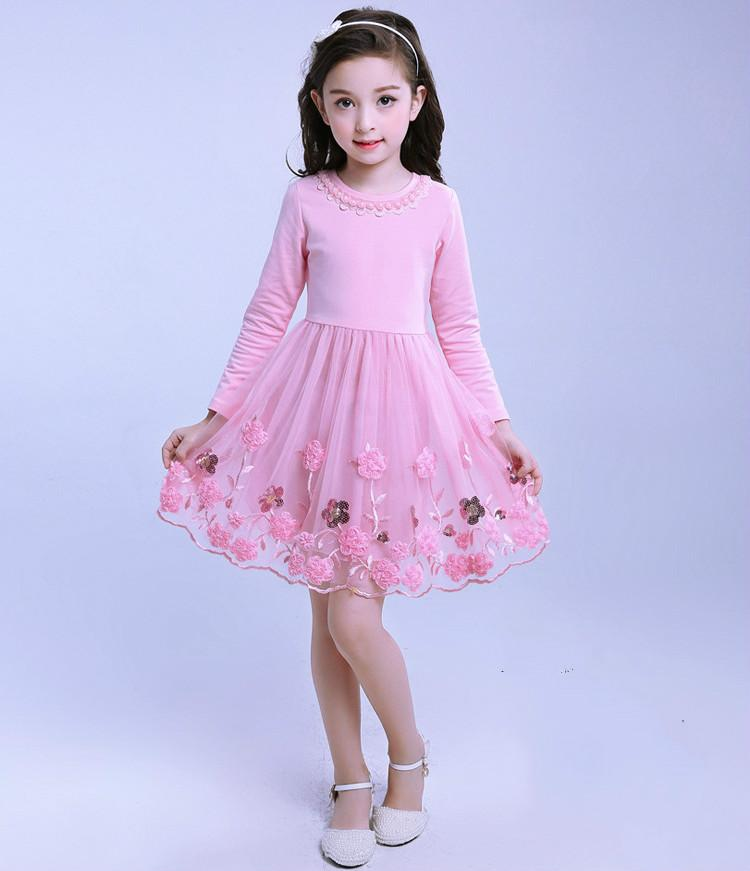 2017 New Girls Dresses Pink Violet Long Sleeve Kids Dresses for Girls Embroidery Sweet Children Prindess Party Dress<br><br>Aliexpress