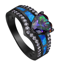 Black Plated Rainbow Blue Green Purple Stone Blue Opal Heart Rings for Women Wholesale Fashion Jewelry Cocktail Ring Gift BR090